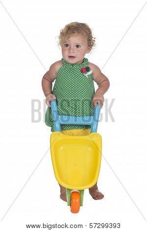 Little Girl Or Toddler with wheelbarrow