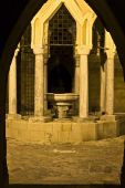 Medieval old fountain at Rhodes island, Greece poster