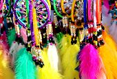 stock photo of dreamcatcher  - Native American colorful dreamcatchers on artisan market