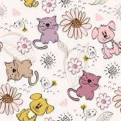 stock photo of baby cat  - babies hand draw seamless pattern with cats - JPG
