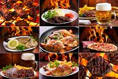 stock photo of salami  - collage of various meals with meat fish and chicken - JPG