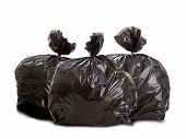 stock photo of smelly  - Three black rubbish bags on white background - JPG