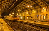 stock photo of avignon  - Regional train leaving Avignon station  - JPG
