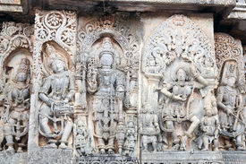 stock photo of belur  - Beautiful Indian architecture from the 11th century - JPG
