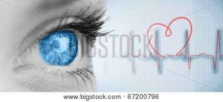Blue eye on grey face against medical background with red ecg line