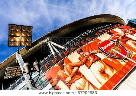 Front of The Emirates Stadium