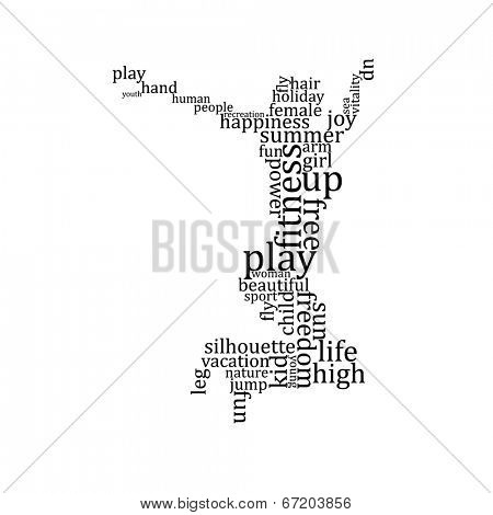 Jumping people silhouette made with words - vector illustration