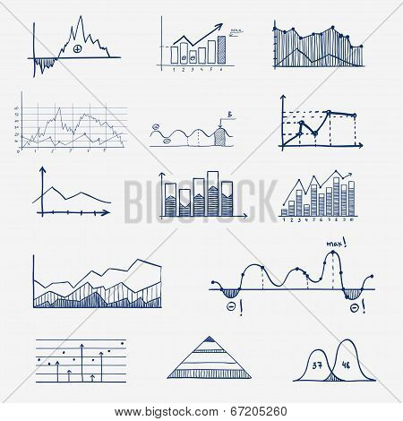 business finance statistics infographics doodle hand drawn elements. Concept - graph, chart, arrows