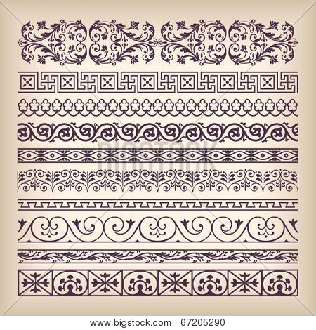 Vector set vintage ornate border frame with retro ornament pattern in antique baroque style. Arabic decorative calligraphy design high quality