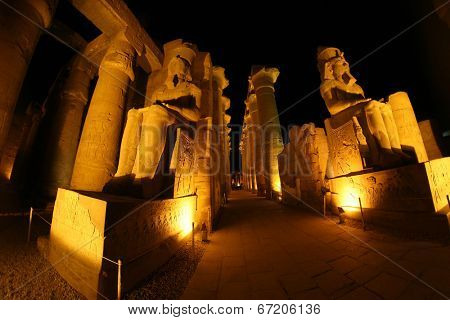 Great statues at Luxor temple, Egypt (wide angle)