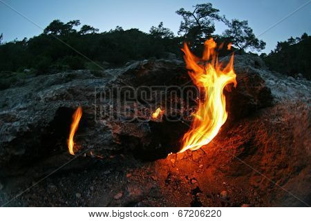 Eternal natural spontaneous flames in Olympos National Park, Turkey