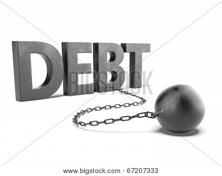 Debt Text With Chain And Weight