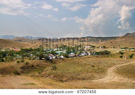 Tent Camping Near Sudak In Crimea