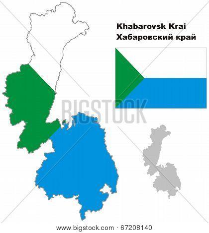 Outline Map Of Khabarovsk Krai With Flag