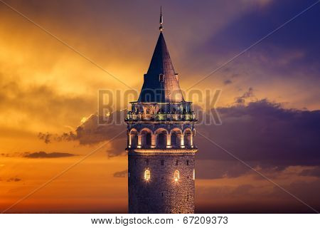 Galata Tower after sunset in Istanbul Turkey