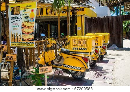 Vintage Yellow Cab Delivery Bikes