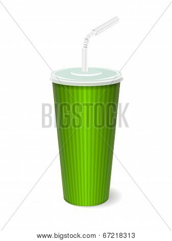 fast food paper cup with tube