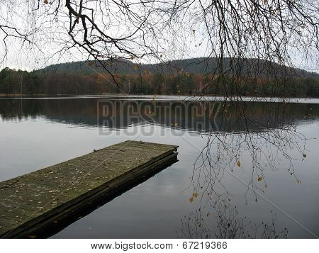 Wooden Pontoon And Lake In The Vosges