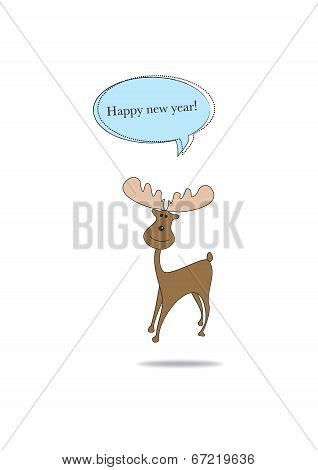 Christmas Moose/deer Wishes A Happy New Year
