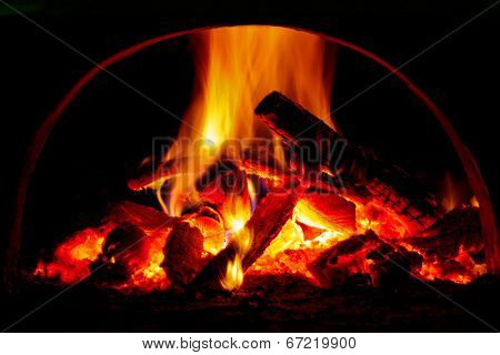 Hot flame of fire in oven