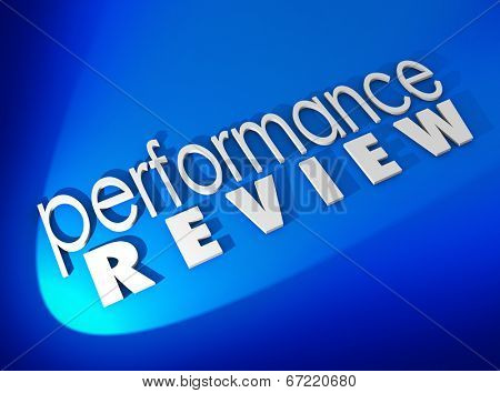 Performance Review in white 3d letters on a blue background twork evaluation