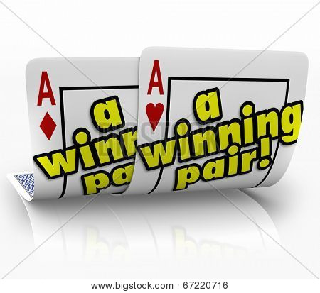 Winning Pair words on two aces on playing cards a successful partnership working team