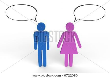 Male and female figures having a conversation
