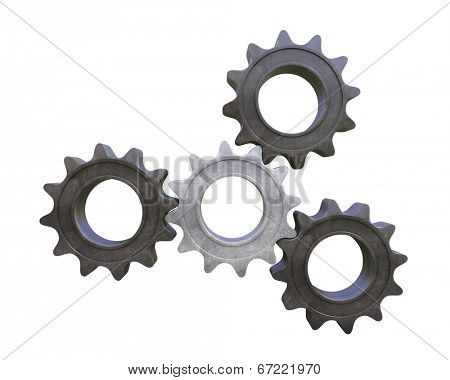 3d gears on white background. Four steel cogwheels