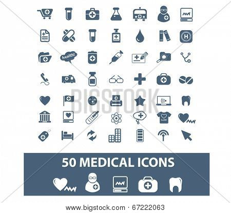 50 medical, health care, hospital, doctor icons, signs set, vector