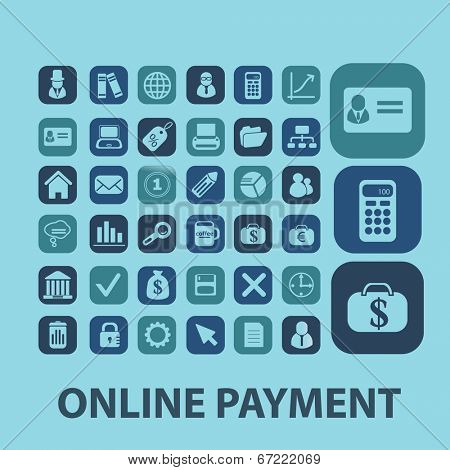 online, finance, money payment icons set, vector