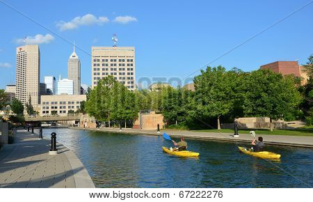 Kayakers In Indianapolis Central Canal