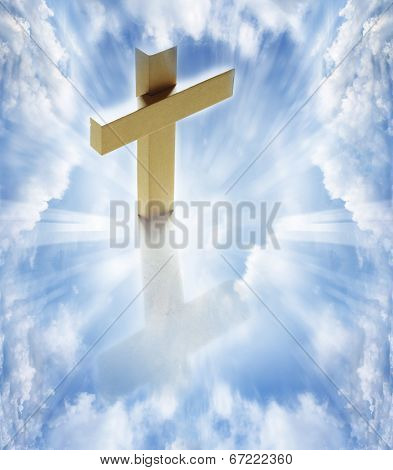 Cross in white clouds heavenly sky