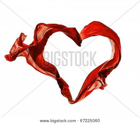 Isolated shots of freeze motion of red satins in heart shape, isolated on white background