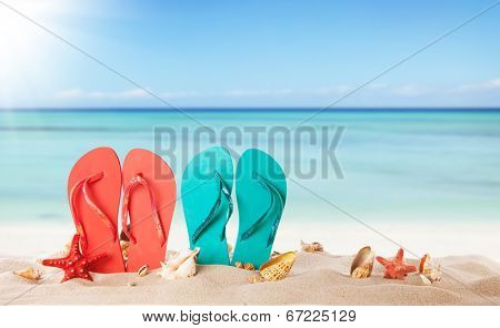 Summer concept with sandy beach, shells and colored sandals
