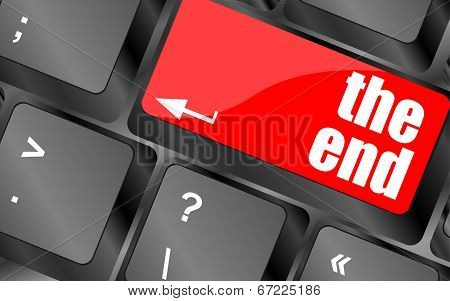 Computer Keyboard With One Key Showing The Warning Words The End,