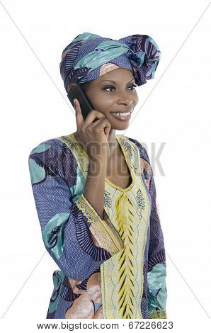 Traditional African Woman Talking With Smart Phone
