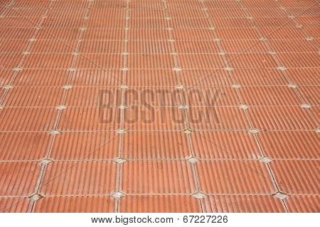 Patio Of Clay Brick Tile Floor