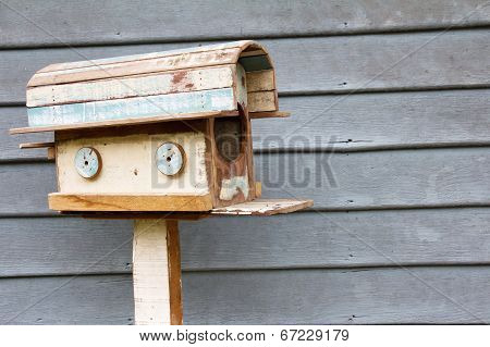 wooden mailbox