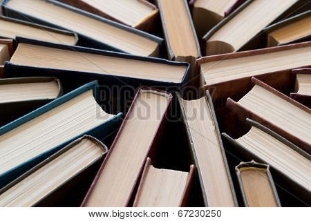 Old and used hardback books
