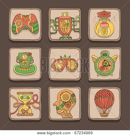 Doodle Icons. Steampunk Theme