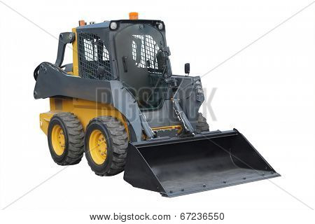 small wheeled tractor under the white background