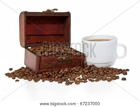 Coffee beans in white cup and trunk
