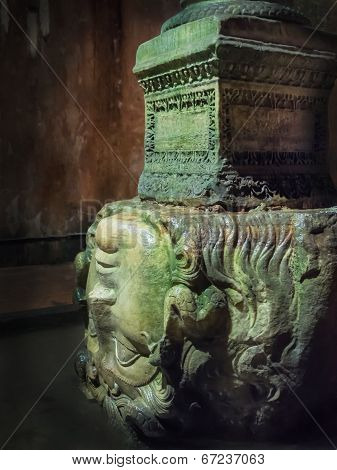 Medusa Head In Underground Basilica Cistern, Istanbul, Turkey