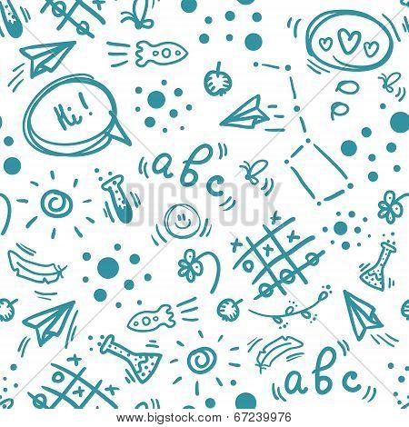 School seamless doodle pattern