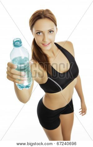Smiling Fit Woman Holding Plastic Water Bottle