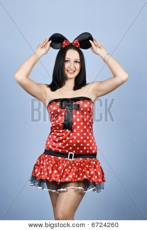 Beauty Woman In Sexy Mouse Coustume