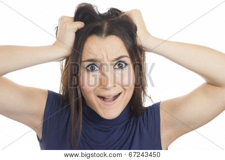 Young Woman Tearing Her Hair Out