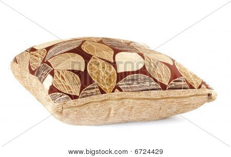 Brown Pillow With Leaves Pattern