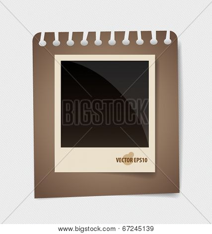 Photo frames on note papers. Vector illustration.