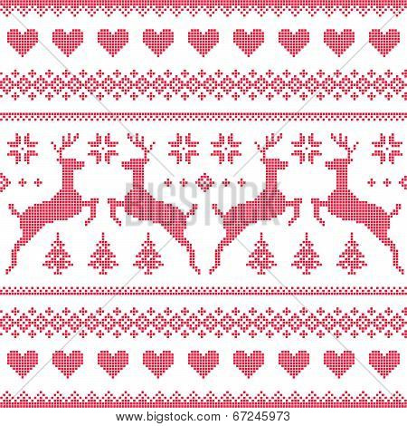 Winter, Christmas red seamless pixelated pattern with deer and hearts